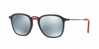 Ray-ban RB2448NM F60230 MATTE BLACK / LIGHT GREEN MIRROR SILVER