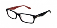 RAY-BAN RX5206 2479 TOP BLACK ON WHITE-RED DEMO LENS